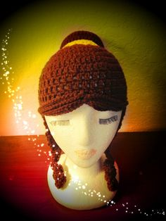 Disney Princess Belle styled Hat or Wig. $40.00, via Etsy. Princess Hat, Crochet Princess, Princess Belle, Crochet Kids Hats, Crochet Beanie, Crochet Clothes, Crochet Wigs, Crochet Baby, Chrochet