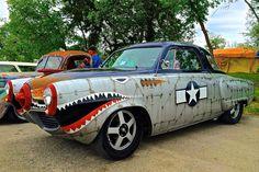 1950 Studebaker Champion Starlight Combat Coupe (xpost from /r/classiccars) via Shitty_Car_Mods Custom Radio Flyer Wagon, Radio Flyer Wagons, Custom Paint Jobs, Custom Cars, Buick Centurion, Lockheed P 38 Lightning, Bone Shaker, Car Mods, Weird Cars