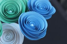 12 Stemmed Baby Boy Shower Paper Flowers - Mint Green/Blue -  Bouquet  - Centerpiece  - Baby Wedding - Home Decor - Gift - Party - on Etsy, $14.50