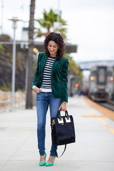 Love this green velvet blazer!