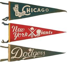 1930s - 1960s White Sox Giants and Dodgers pennants. Type heaven. #tbt by oxfordpennant