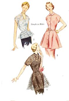 Simplicity 3535 Misses' Vintage 1950s Set of Evening Peplum Tops Sewing Pattern by DRCRosePatterns on Etsy