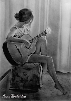 Dreaming Of YOU ! by annakoutsidou on DeviantArt Dreaming Of YOU ! by annakoutsidou Landscape Pencil Drawings, Realistic Pencil Drawings, Dark Art Drawings, Girly Drawings, Music Drawings, Pencil Art Drawings, Landscape Sketch, Girl Drawing Sketches, Pencil Sketch Drawing