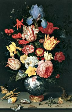 Balthasar van der Ast Still Life with Flowers, Shells and Insects 1628