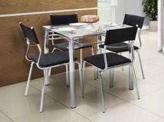 Conjunto de Mesa Aço Carbono com 4 Cadeiras - Estofadas - Somopar Tuane Preto de R$ 890,00 por R$ 499,90   em até 9x de R$ 55,54 sem juros no cartão de crédito  #Somopar