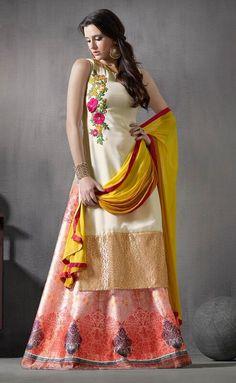 Sleeve less Off White Kurti Style Pakistani Suit - Anarkali Suit   Zakasi.com