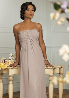 A-line Strapless Floor-length in Chiffon Mother of the Bride Dress