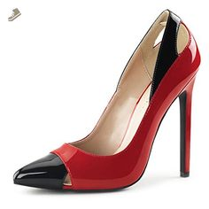 92ae67e83895 Womens Red and Black Shoes Spectator Pumps Pointed Toe Cut Outs 5 Inch  Heels Size