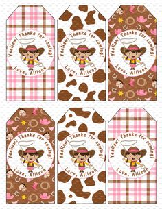 Cowgirl Birthday Party Hanging Favor Tags to match Cowgirl Birthday Invitation - Cowboy Printable