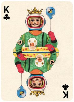 An astronaut king with a ballon and a duck shaped pool ring? Another one that really makes me want to see the rest of the deck.