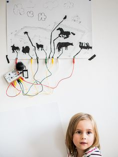 Create a sound poster with the Touch Board and Electric Paint! When the little girl places her finger on an animal it triggers the on the Touch Board SD card to sound! Electronics Projects, Kids Electronics, Interactive Installation, Interactive Design, Pop Up, American Girl, Electronic Cards, Kids Workshop, Carte Sd