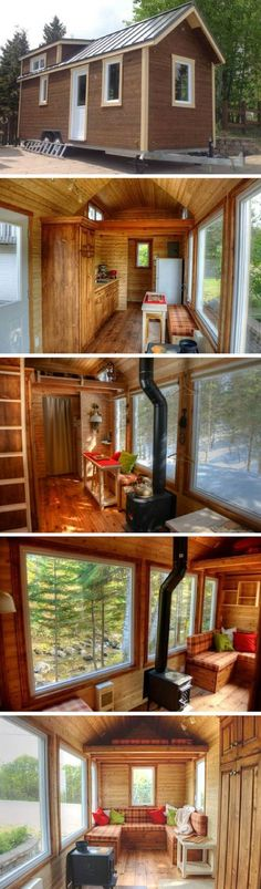 This tiny home was a self-build/DIY from Habitations MicroEvolution   They specialize in the design of tiny houses on wheels.   Love this o...