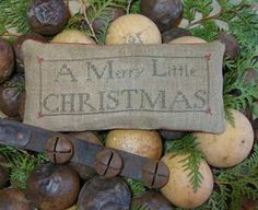 HomeSpunPrims: December 2013 Pin Keep by Country Rustic Primitives Cross Stitch Christmas Ornaments, Xmas Cross Stitch, Christmas Cross, Cross Stitch Embroidery, Cross Stitch Patterns, Christmas Sewing, Merry Christmas To All, Christmas Pillow, Primitive Christmas