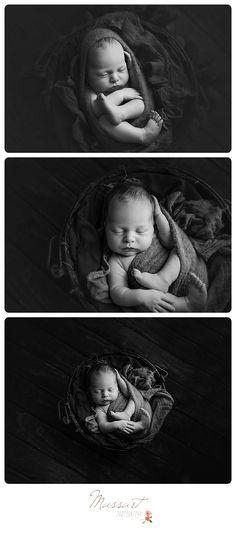 Timeless black and white newborn baby boy portraits photographed in studio by Massart Photography, RI MA CT. www.massartphotography.com; info@massartphotography.com