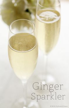 This is a delicious champagne cocktail, perfect for a wedding or baby shower, holiday party, girls night, etc. - Ginger Sparkler