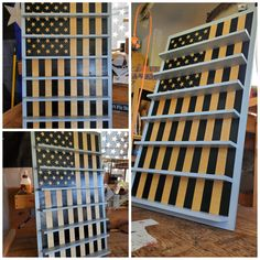 US flag with shelves for the purpose of displaying shot glasses