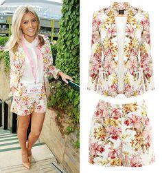 Love the floral design. Longer jacket. Longer shorts.