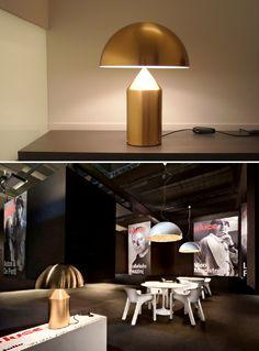 Vico Magistretti: Oluce Atollo 233 Gold Table Lamp