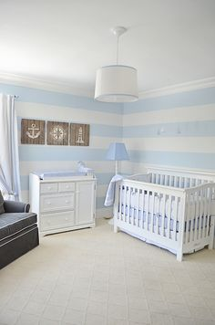 blue and white stripe nautical nursery