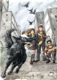 Exuberance  by *Gold-Seven  Traditional Art / Paintings / Fanart	©2004-2012 *Gold-Seven  Sirius Black leaves Grimmauld Place for the first time in months to accompany Harry, Ron, and Hermione to the Hogwarts express. MUCH against Hermione's better judgment...