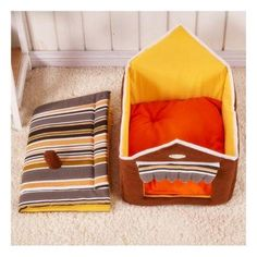 L Cute House Dog Bed Pet Bed Warm Soft Dogs Kennel Dog House Pet Sleeping Bag Coffee