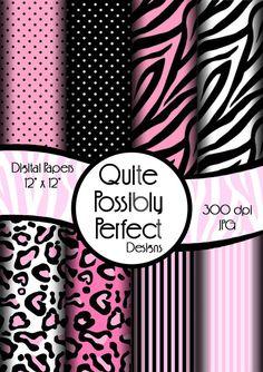 Pink Girly Zebra Digital Paper Pack Instant Download (DGP102) Zebra Leopard Dots for Scrapbooking, Collage Sheets,Greeting Cards, Bottle Cap...