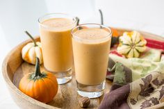 Pumpkin Pie Smoothie - Thick, rich, healthy and creamy, and it tastes like pumpkin pie in a glass. The perfect pumpkin pie craving buster!