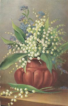 Lily of the Valley Flowers Vintage Old postcard Vintage Postcards, Vintage Images, My Flower, Flower Art, Quilling Images, Victorian Crafts, Munier, Lily Of The Valley Flowers, Australian Native Flowers