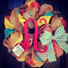 Burlap wreath with red deco mesh // red turquoise gray black chevrons  // yellow burlap // red monogram letter