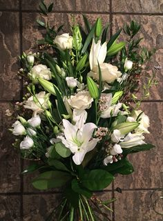 White funeral sheaf using roses, lilies, wax flower and lisianthus White Rose Bouquet, White Roses, White Flowers, Funeral Bouquet, Funeral Flowers, Funeral Tributes, Wax Flowers, Floral Arrangements, Floral Design