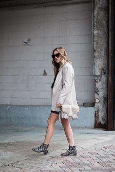 Taupe blazer // leather skirt // snake skin booties