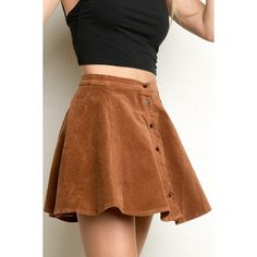 Brya Corduroy Skirt ($26) ❤ liked on Polyvore featuring skirts, knee length skater skirt, brown skirt, brown skater skirt, skater skirt and knee length skirts