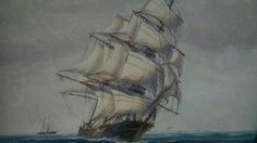 This is a wonderful vintage oil on canvas painting of a sailboat at sea  It is signed in the lower right hand corner; the name appears to be Fulton