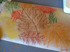 Crayon rub - Fall leaves - Young children think this is magic!
