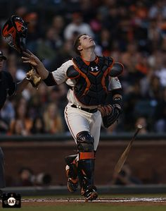 San Francisco Giants, S.F. Giants, photo, 2014, Buster Posey   LOL I love how it looks like he's fabulous flipping his helmet off!