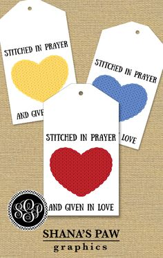 A stitched heart on this ShanasPaw.com Tie-On Tag design honors the love you stitch into every knit and crochet project. It is sized to print as a tie-on tag on Avery and similar commercial stationery products. Your purchase includes 6 tag templates with your choice of colors and wording. After we customize your templates, we will email them to you ready to print.