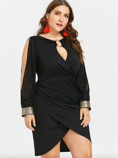 Plus Size Dress Women Keyhole Neck Sequined Slit Bodycon Dress Spring Autumn Party Dresses Ol Club Dresses Vestidos Black XL Plus Size Mini Dresses, Vestidos Plus Size, Plus Size Outfits, Plus Size Womens Clothing, Plus Size Fashion, Clothes For Women, Fashion Top, Dress Fashion, Elegant Dresses