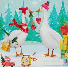 *Nina Chen*Postkarte*14x14*Gans+Ganter verreisen*Grußkarte*Glitzer*Weihnachten   eBay