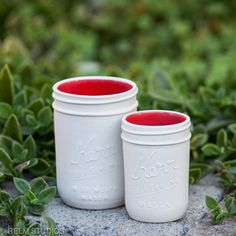 Relm Studios red ceramic mason jars