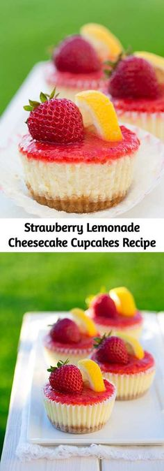 Individual cheesecakes with the same irresistible refreshing flavor as a glass of strawberry lemonade. Individual cheesecakes with the same irresistible refreshing flavor as a glass of strawberry lemonade. Mini Desserts, Mini Cheesecake Recipes, Cheesecake Cupcakes, Cupcake Recipes, Just Desserts, Baking Recipes, Delicious Desserts, Cupcake Cakes, Dessert Recipes