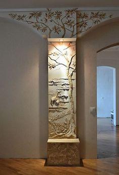 одноклассники Clay Wall Art, Mural Wall Art, Ceiling Design, Wall Design, House Design, Canvas Light Art, Pillar Design, Door Gate Design, Plaster Art