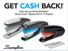 Earn up to a $100 Visa Gift Card when you purchase Swingline Quick Touch Staplers & S.F. 4 Staples #rebate