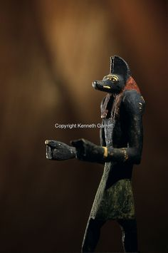 """Wooden Anubis statue found at Ain el-Lebekha, Darb el-Arbaein, trade route, Anubis is the watcher of the road, Egypt; Archaeologist; Salima Ikram; Kharga Oasis;Ancient Cultures; mm7195; Desert; Oasis, Kharga Regional Museum.  COPYRIGHT: Kenneth Garrett"" ^**^"