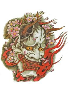 Japanese Demon Tattoo Flash Designs. Top quality high resolution color design, with tattoo stencil outline for instant download. Get the body art you deserve. Many other designs. View at http://mickeymud.com/galleries/