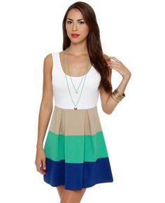 """Color Bar Quartet Taupe and Teal Color Block Dress""    http://www.lulus.com/products/color-bar-quartet-taupe-and-teal-color-block-dress/51261.html"