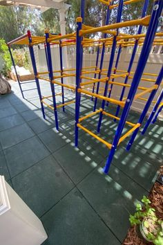 """""""Easy to install. Have plenty of blades on hand. Interlocking design is well thought out. Looks great. Kids love it. Prevents lots of tears and injuries in comparison to the concrete patio paver stones underneath."""" - Joe - Playground Tile Interlock 2.75 Inch Green Playground Mats, Playground Safety, Preschool Playground, Playground Flooring, Outdoor Playground, Rubber Tiles, Paver Stones, Outdoor Play Areas, Recycled Rubber"""