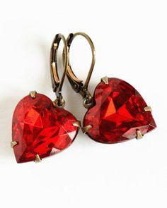 Heart Earrings Red Jewel Earrings Vintage Red
