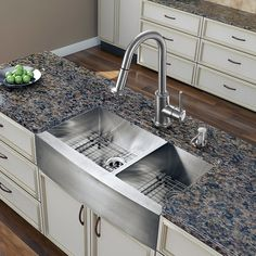 Add some sophistication to your kitchen with a VIGO All in One Kitchen Set. Composed of solid brass with a stainless steel finish, the included faucet also includes a spray face that resists mineral b
