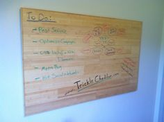 "DIY wood ""whiteboard"" with clear dry erase paint"