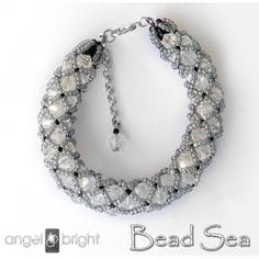 Braided with stars bracelet - crystals and toho